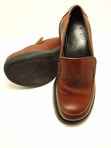 DANSKO WOMENS CLOG BROWN LEATHER EMBROIDERY SHOES SIZE 37 ...