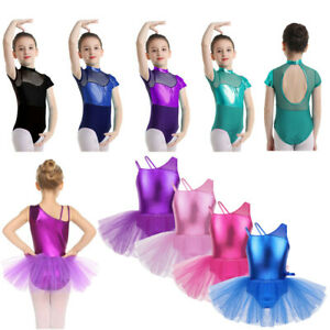 Girls Ballet Dance Leotard Skirt Dress Gymnastics Long Sleeve  Tutu Dancewear