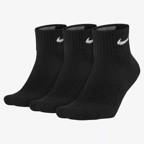 Nike Socks Quarter Training Cushion Football/Socce<Wbr>R  (3 Pair) Black Sx4703 001 by Nike