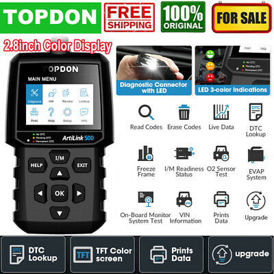 Turn Off MIL OBD2 Scanner TOPDON AL500 Code Reader Check Engine Light Diagnostic Tool with All OBD2 Functions O2 Sensor Test Free Update DTC Lookup LED Mode 6 I//M Readiness Built-in Help Menus