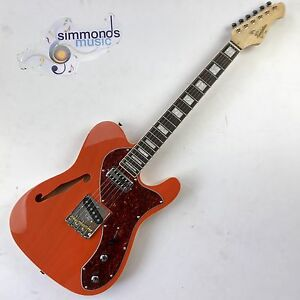 Revelation TSS ThinLine Short Scale 6 String Electric Guitar in See Thru Orange