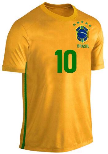 Brasile Maglia per Bambini Set Calcio Fan due divisori gialla blu dimensioni 164