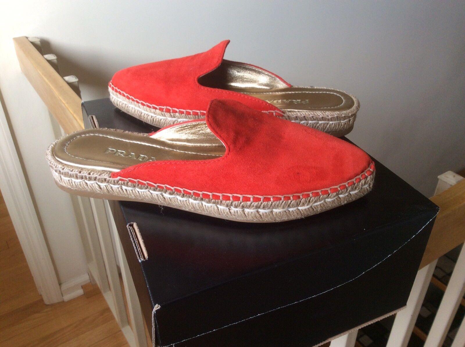 Women's Prada Espadrille shoes Mule Flat Slide Loafer Red Suede Sz 36 NEW