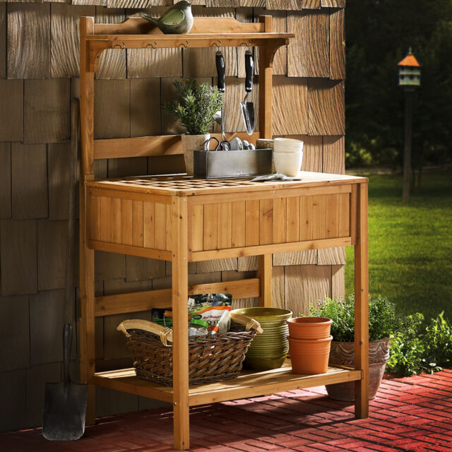 Outdoor Garden Potting Bench Table Storage Patio Porch Deck Display Kiln Wood For Online Ebay