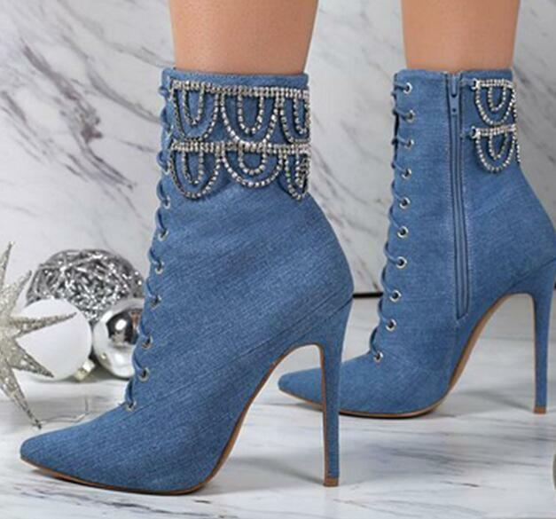 Womens Trendy Sexy Diamante Tassel Pointy Toe Slim High Heels Denim Ankle Boots