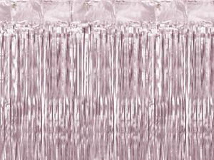 Lumière rose pastel Métallique Anniversaire Baby Shower Feuille Rideau de porte toile de fond 2.5 M