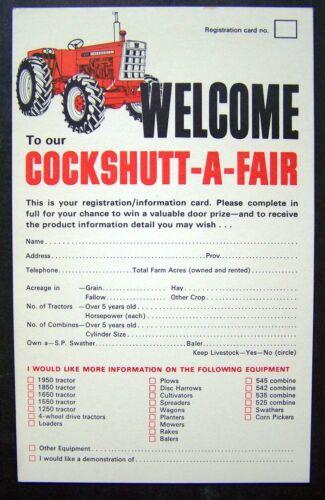 Lot of 5 1960/'s Cockshutt Farm Equipment Cocshutt-A-Fair Registration Cards