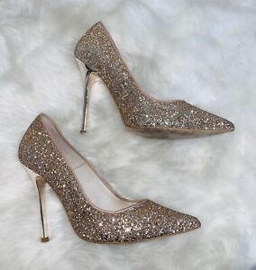 Point Court Heels Rose Gold Glitter | eBay