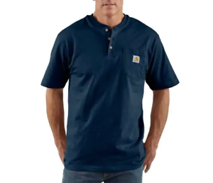 Carhartt Work Wear Short Sleeve Henley T-shirt K84 Navy