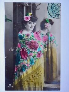 SPAIN-ESPANA-NIEVES-GIL-MADRID-Malaga-Flamenco-old-postcard