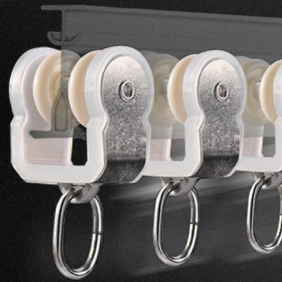 10x Curtain Glider Hooks Track Rail Poles Twin Gliders Parts Stainless Steel Kit