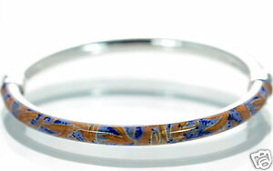 Milor-Italy-Solid-925-Sterling-Silver-Enamel-Cuff-Bangle-Bracelet