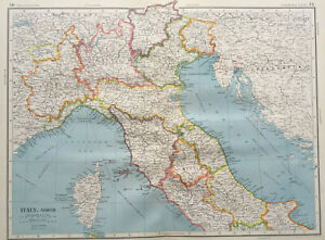 Map Of North Italy.Details About Map Of North Italy Large J G Bartholomew C1951 Vintage Corsica Venice