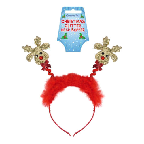Ladies Christmas Glittered Head Boppers Headbands Fancy Dress Party Xmas Costume