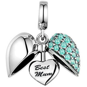 Aqua-Best-Mum-Heart-Charm-S925-Silver-Charms-Bracelet-Bead-Xmas-Gift-for-Mother
