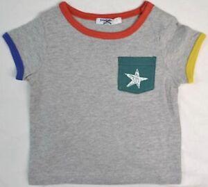 8a90ddec1 Ex Baby Boden Boys Grey Star Applique Logo Short Sleeve Top Age 3 6 ...
