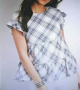 Maurices~New With Tags~Blue & White Plaid Tiered Babydoll Top~Medium