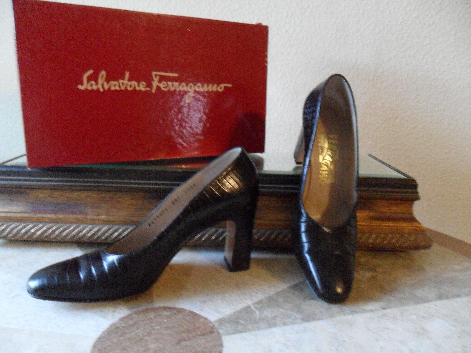 Damenschuhe high heel classic pump dark Braun Leder crocodile print  Größe 7.5 AA