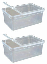 Pack of 2 Transparent Plastic Box Insect Reptile Transport Breeding Feeding 1.3L