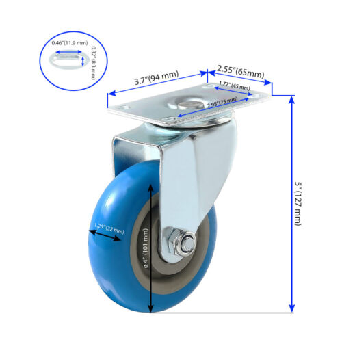 """4/"""" No Brake 4 Pack Caster Wheels Swivel Plate With HD hardware Kit"""
