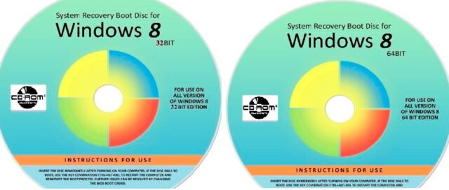 WIN 8 32 & 64 Bit System Recovery Software Disc's - 2018 x 2