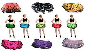 TALLA-GRANDE-Neon-Rosa-Negro-Rojo-Volante-Detalle-Falda-Tutu-Halloween