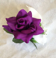 Purple Lapis Pin On Corsage Roses Calla Lilies Silk Wedding Flowers Prom