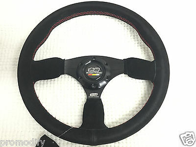 Universal Mugen JDM Style 350mm Suede Flat Dish Steering Wheel in Red Stitching