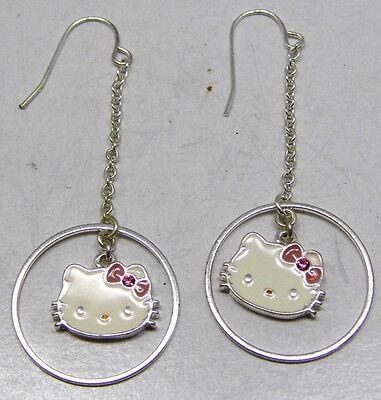 Vintage Long Dangle HELLO KITTY Sanrio Hook Earrings Cute Fun White Silver Tone