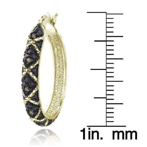 Or 18K Sur Argent Sterling 1//10ct Champagne Diamond Criss-Cross Boucles D/'oreilles Créoles