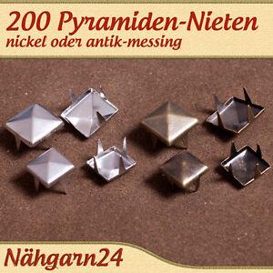 200-St-Pyramidennieten-mit-4-Spitzen-bzw-Spikes-Nieten-Ziernieten-9-o-12mm