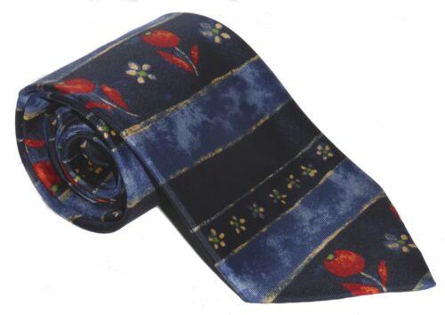 Dark and Medium Blue With Red Flower Pattern 100/% Silk Tie Men/'s Necktie