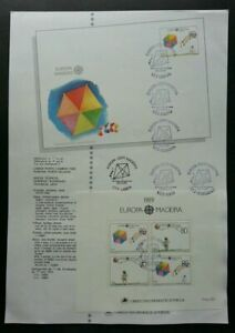 SJ-Portugal-Europa-CEPT-Children-039-s-Games-1989-Toy-Kite-ms-on-info-sheet