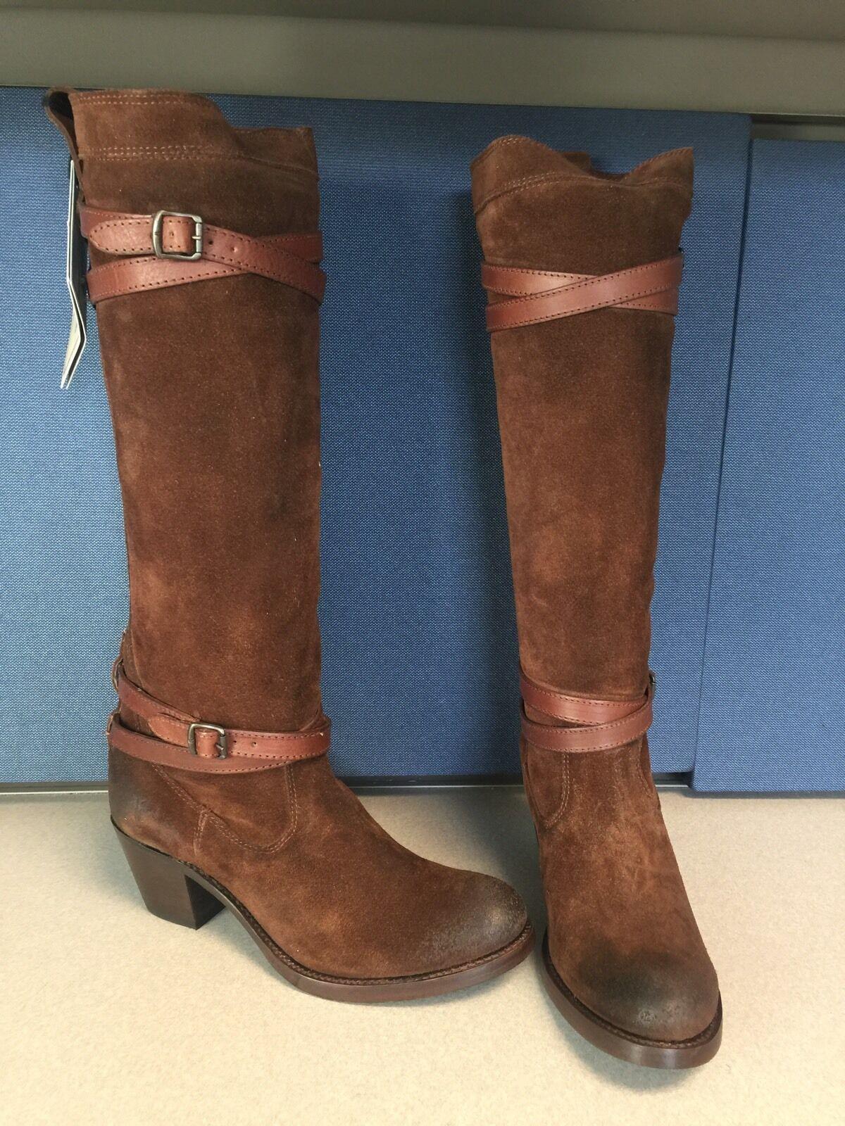 Frye Jane Atado Gamuza Marrón rodilla alta botas botas alta talla 6M  Nuevo 348cb2