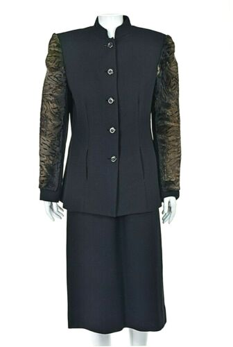 TRAVILLA Vintage Wool Crepe Skirt Suit with Persi… - image 1