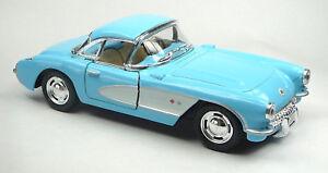 1957-Chevrolet-corvette-c1-bleu-clair-blanc-modele-de-collection-1-34-de-kinsmart-article-neuf