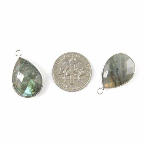 Bezel Gem Pendant Sterling Silver 13x18mm Faceted Pear 2 Pcs Labradorite