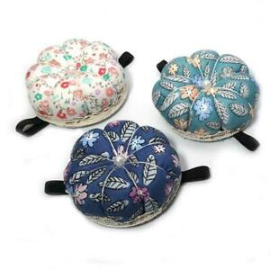 4 Colors 4 Pieces Wrist Pin Cushion Pumpkin Sewing Pin Cushions Wearable Needle Cushion with Adjustable Elastic Band Sewing Crafts Holder Pincushion for Needlework