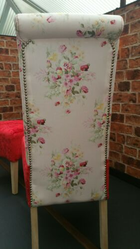Dining Chairs 1 Pair Stunning rose and velvet contrast