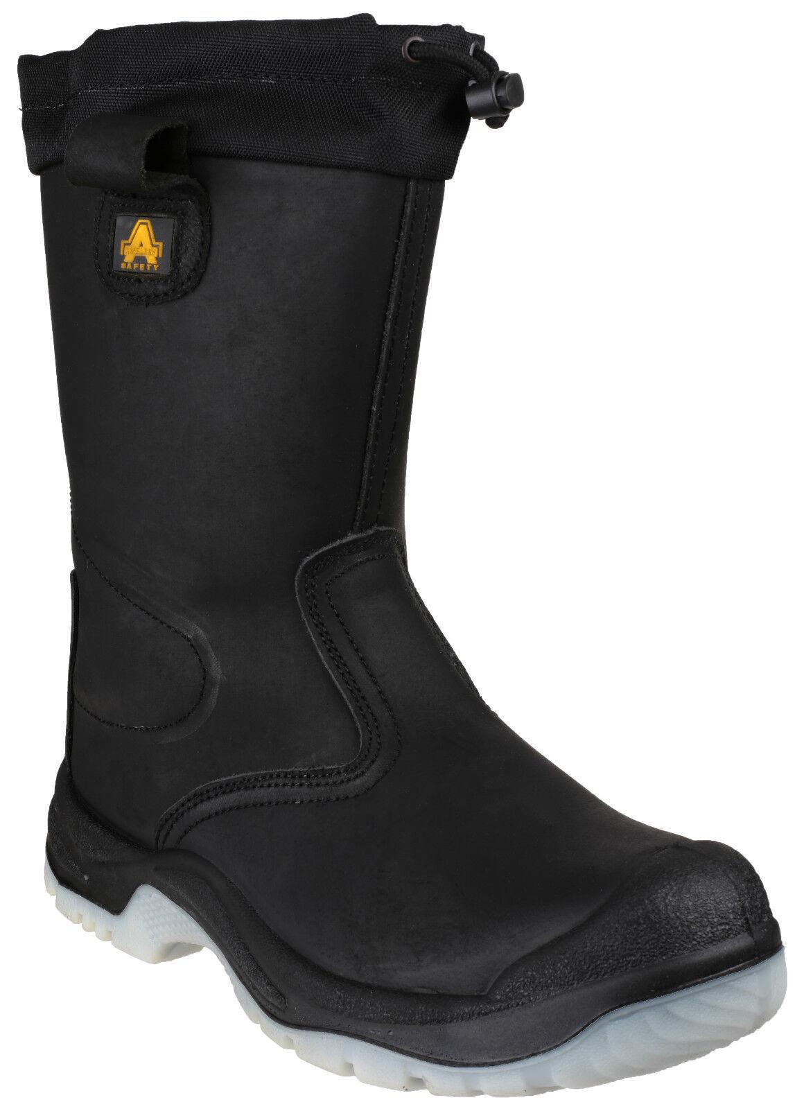 Amblers FS209 RESISTENTE ALL' ACQUA Sicurezza Rigger Cap Uomo Nero Acciaio Toe Cap Rigger Boot uk4-13 5dd3b7