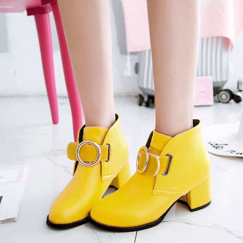 Fashion Womens Ankle Boots Strappy Buckle Block Med Heels Sweet Nightclub shoes