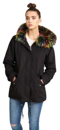 Winterjas Capuchon Dames.Fleece Zwart Met Winterjas Capuchon Multicolor 8 Sherpa 16 Gevoerde