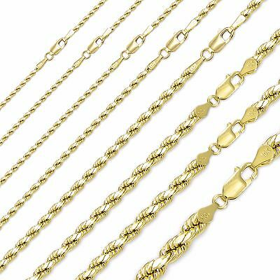"""14K Solid Yellow Gold Diamond Cut Rope Necklace Chain 1-8mm16-30/"""" Link Men Women"""