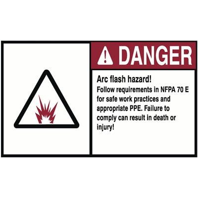 ACCUFORM LELC313 Label,3-1//2x5,Danger Arc Flash and Shock