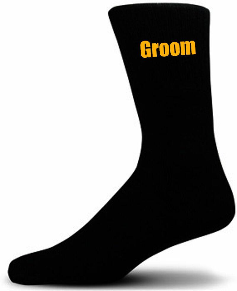 Black Luxury Cotton Rich Wedding Socks With Yellow Text, Groom, Best Man, Usher