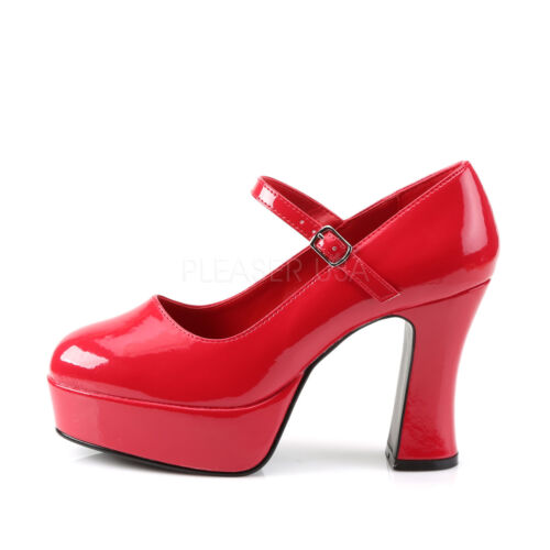 """Gorgeous 4/"""" Shiny Red Chunky MaryJane Pinup Rockabilly Strap Pumps Heels 6-14"""