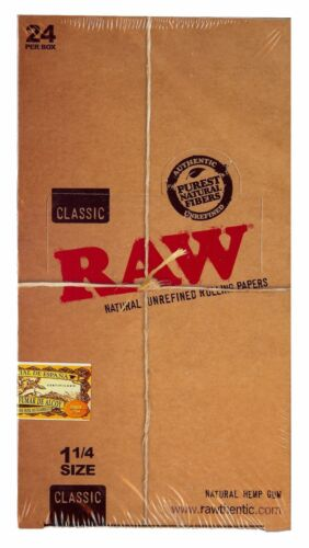 Raw Classic 1 1//4 Natural Unrefined Hemp Rolling Papers 24 Booklet Packs New!