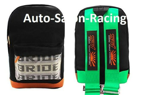 JDM Bride Racing Backpack With STI Racing Harness Shoulder GREEN straps