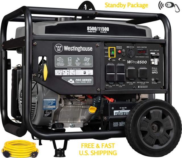 WESTINGHOUSE WPRO8500 Remote Start W/ 250 Volt Cord Industrial STANDBY PACKAGE