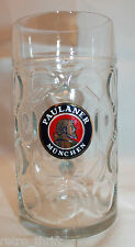 "Paulaner Munchen Germany 1 Liter Large Heavy Dimpled Beer Mug Stein Logo 8"" Tall"
